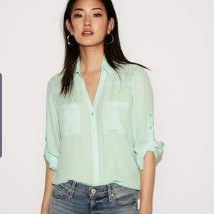 Express portofino shirt blouse mint green size m